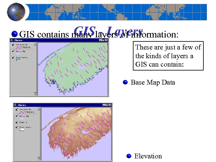 GIS - Layers GIS contains many layers of information: These are just a few