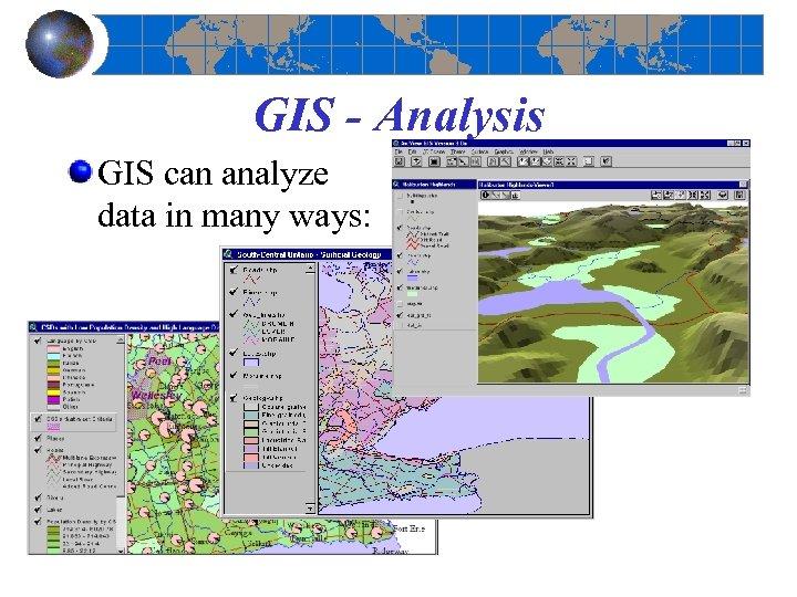 GIS - Analysis GIS can analyze data in many ways: