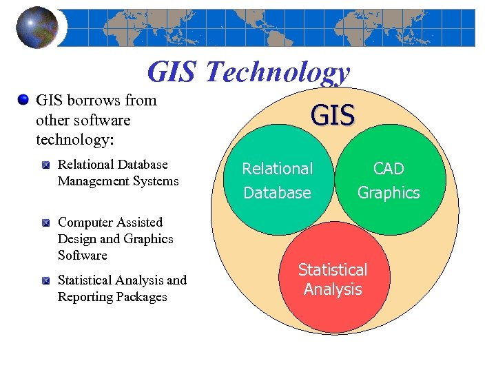 GIS Technology GIS borrows from other software technology: Relational Database Management Systems Computer Assisted