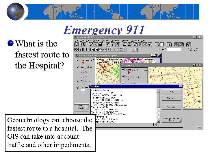 Emergency 911 What is the fastest route to the Hospital? Geotechnology can choose the