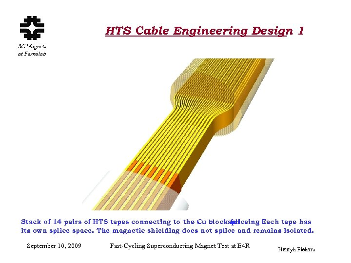 HTS Cable Engineering Design 1 SC Magnets at Fermilab Stack of 14 pairs of
