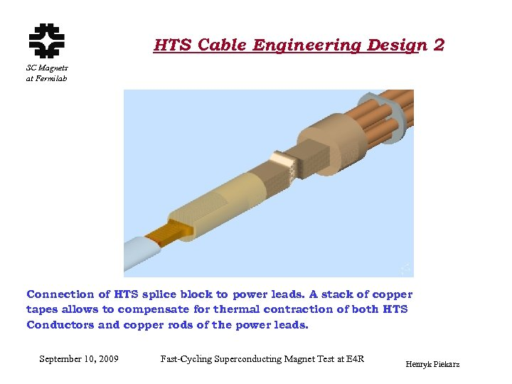 HTS Cable Engineering Design 2 SC Magnets at Fermilab Connection of HTS splice block