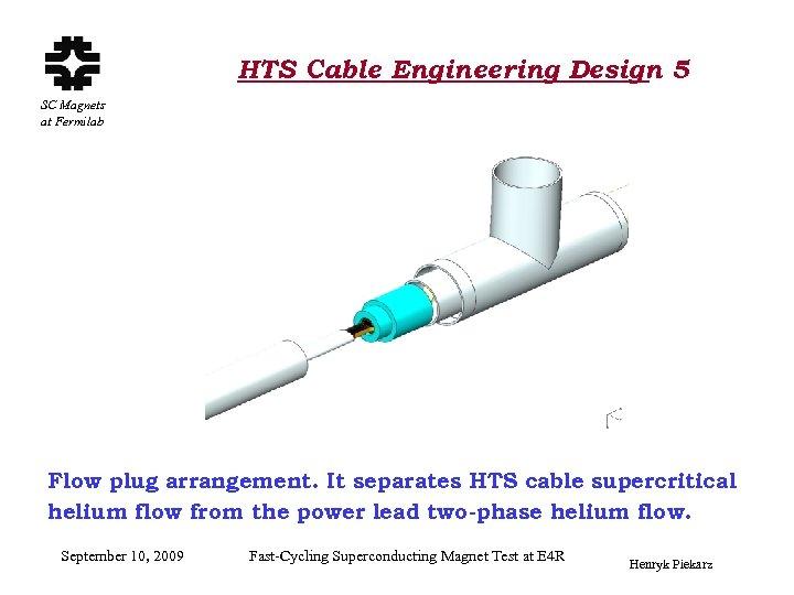 HTS Cable Engineering Design 5 SC Magnets at Fermilab Flow plug arrangement. It separates