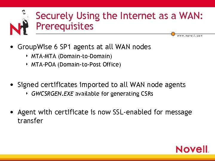 Securely Using the Internet as a WAN: Prerequisites • Group. Wise 6 SP 1