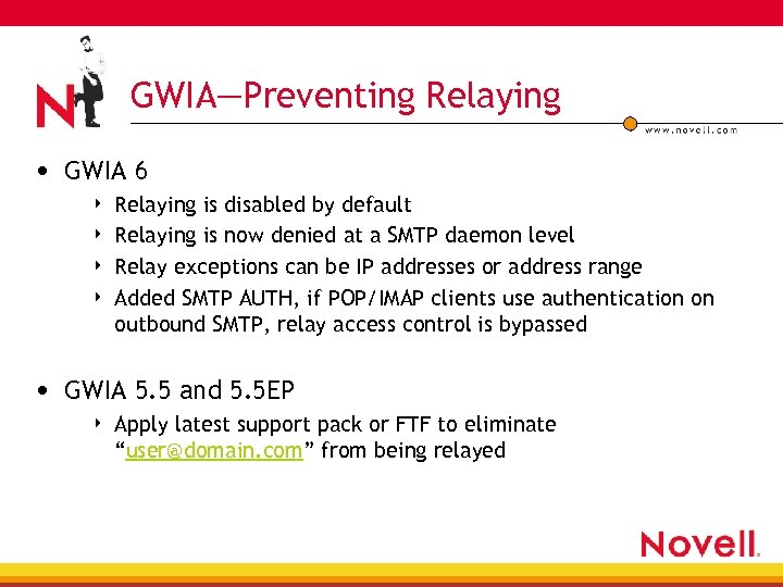 GWIA—Preventing Relaying • GWIA 6 4 4 Relaying is disabled by default Relaying is