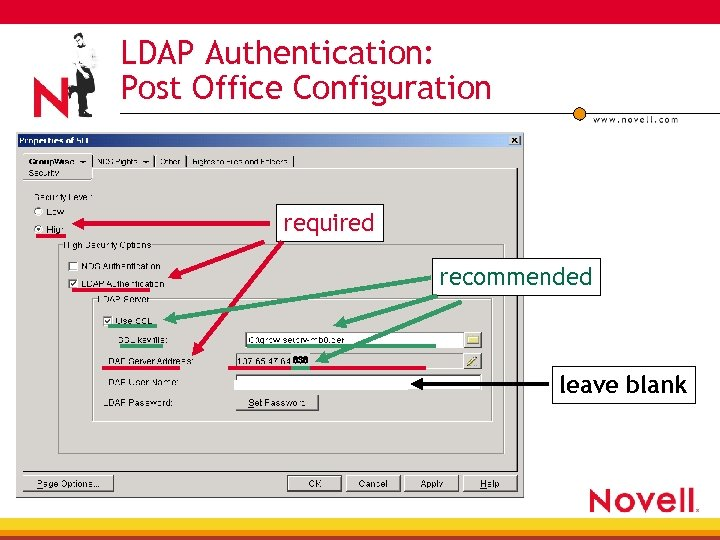 LDAP Authentication: Post Office Configuration required recommended 636 leave blank