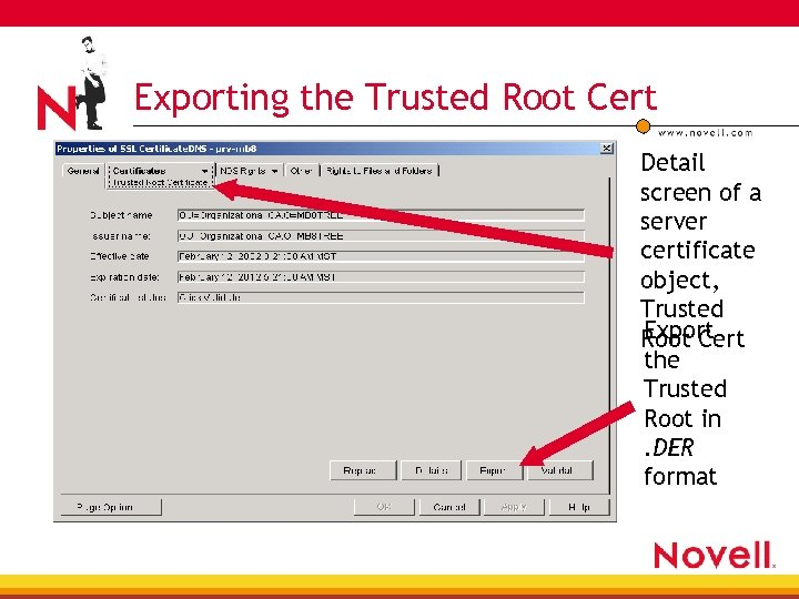 Exporting the Trusted Root Cert Detail screen of a server certificate object, Trusted Export