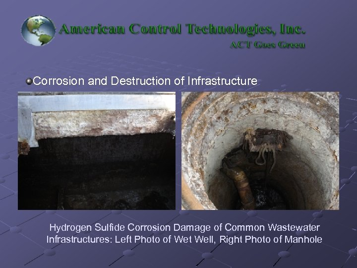 Corrosion and Destruction of Infrastructure Hydrogen Sulfide Corrosion Damage of Common Wastewater Infrastructures: Left