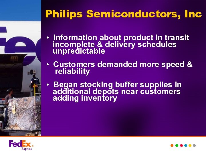 Philips Semiconductors, Inc • Information about product in transit incomplete & delivery schedules unpredictable