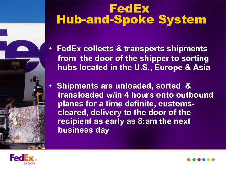Fed. Ex Hub-and-Spoke System • Fed. Ex collects & transports shipments from the door