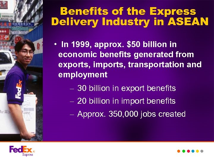 Benefits of the Express Delivery Industry in ASEAN • In 1999, approx. $50 billion
