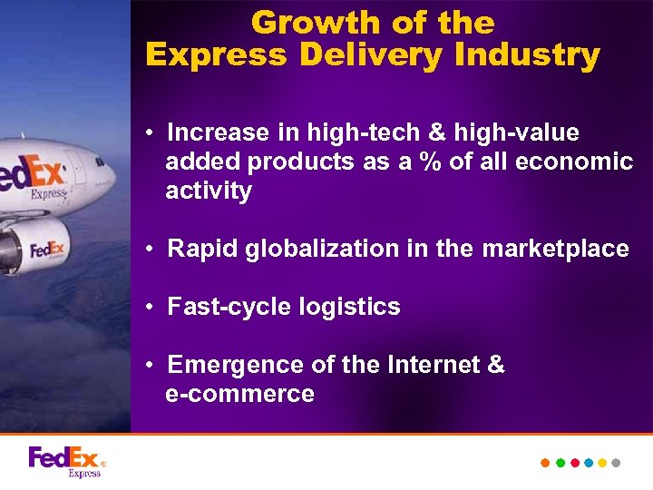 Growth of the Express Delivery Industry • Increase in high-tech & high-value added products