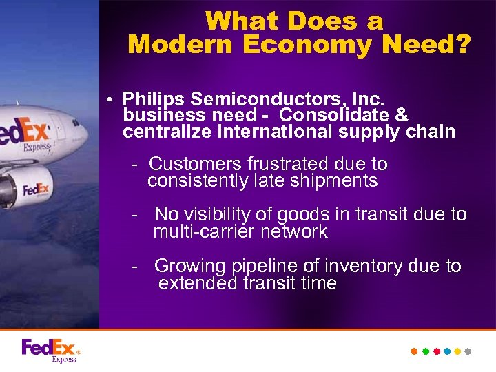 What Does a Modern Economy Need? • Philips Semiconductors, Inc. business need - Consolidate