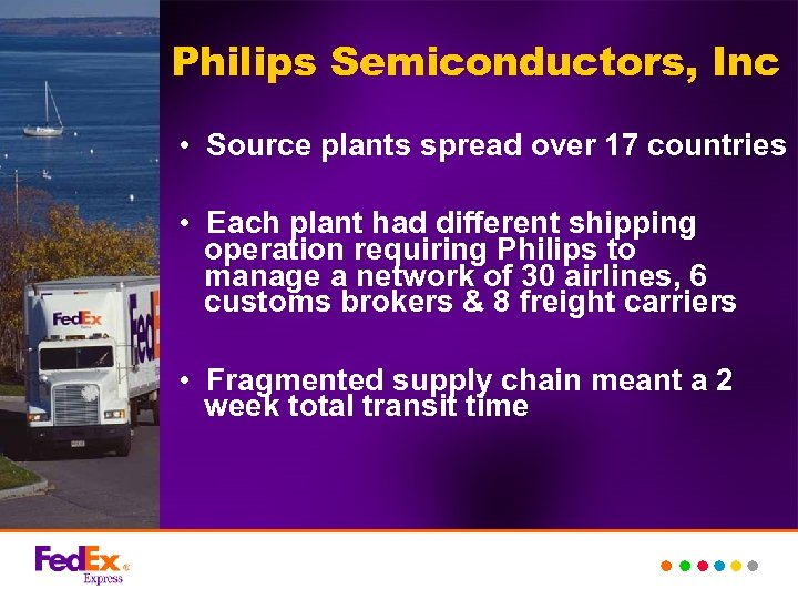 Philips Semiconductors, Inc • Source plants spread over 17 countries • Each plant had