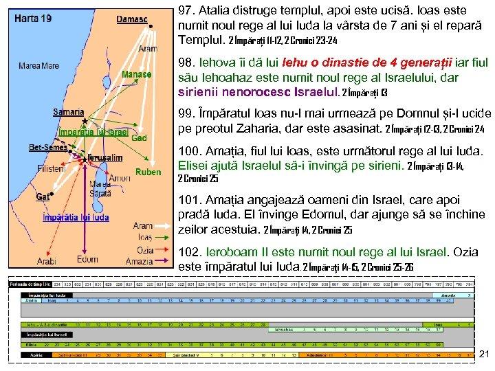 97. Atalia distruge templul, apoi este ucisă. Ioas este numit noul rege al lui