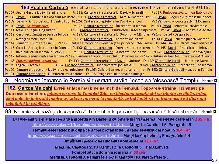 180. Psalmii Cartea 5 posibil compilată de preotul învățător Ezra în jurul anului
