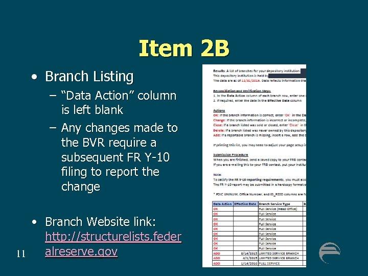 "Item 2 B • Branch Listing – ""Data Action"" column is left blank –"