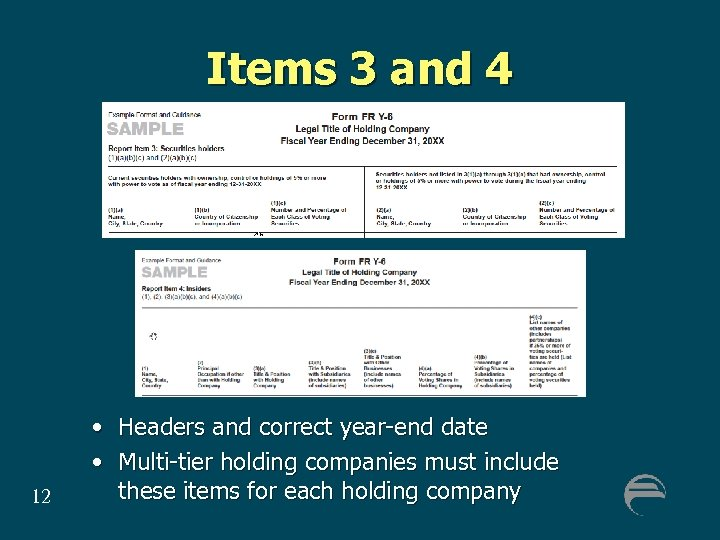 Items 3 and 4 12 • Headers and correct year-end date • Multi-tier holding