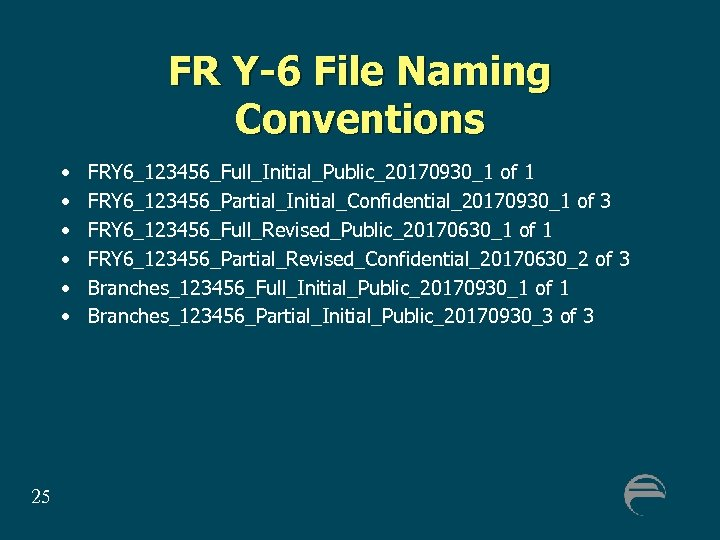 FR Y-6 File Naming Conventions • • • 25 FRY 6_123456_Full_Initial_Public_20170930_1 of 1 FRY
