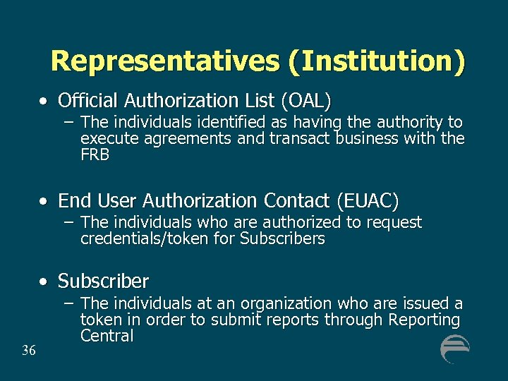 Representatives (Institution) • Official Authorization List (OAL) – The individuals identified as having the