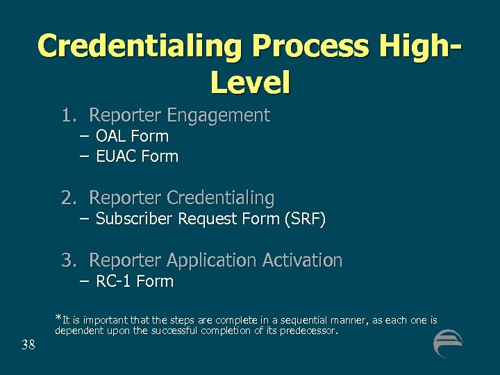 Credentialing Process High. Level 1. Reporter Engagement – OAL Form – EUAC Form 2.