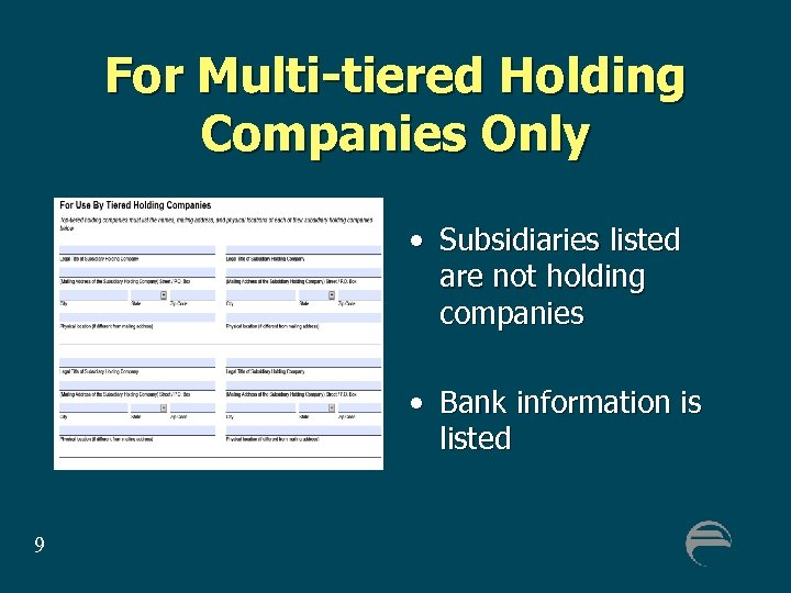 For Multi-tiered Holding Companies Only • Subsidiaries listed are not holding companies • Bank