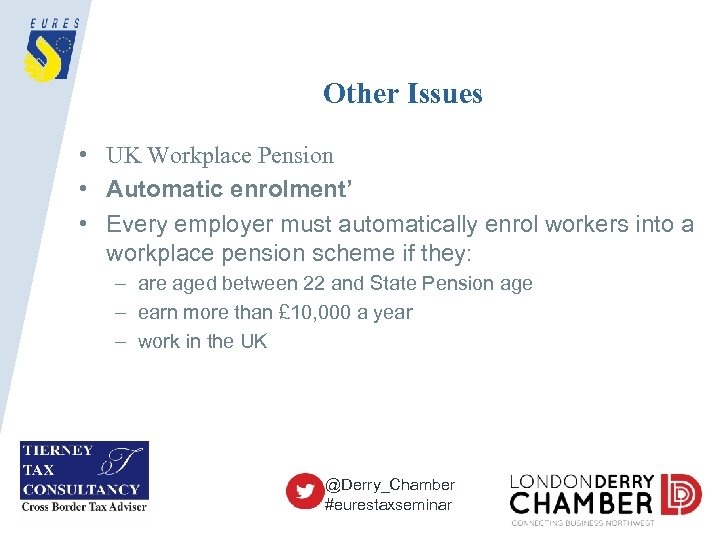 Other Issues • UK Workplace Pension • Automatic enrolment' • Every employer must automatically