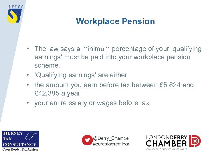 Workplace Pension • The law says a minimum percentage of your 'qualifying earnings' must