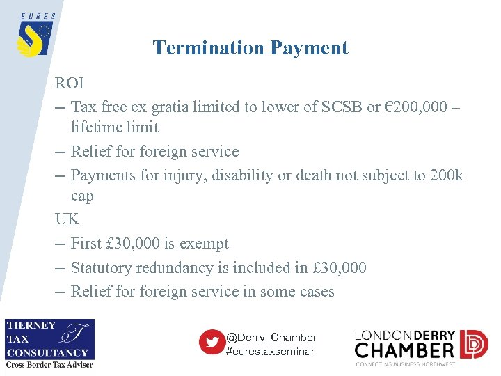 Termination Payment ROI – Tax free ex gratia limited to lower of SCSB or