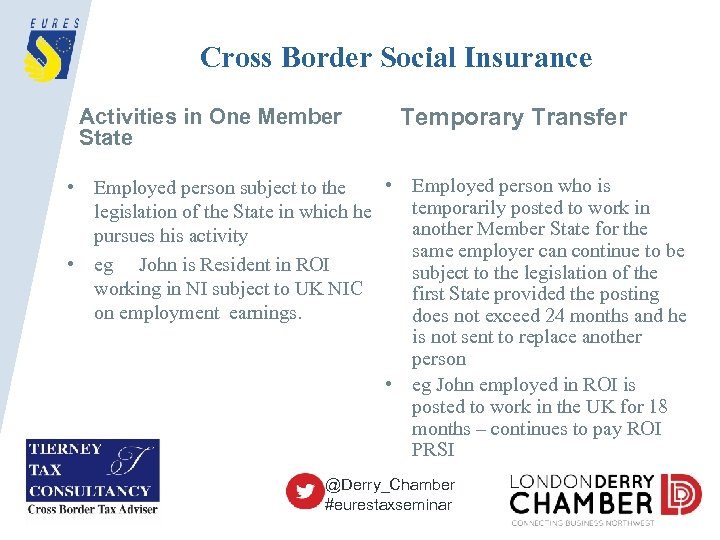 Cross Border Social Insurance Activities in One Member State Temporary Transfer • Employed person