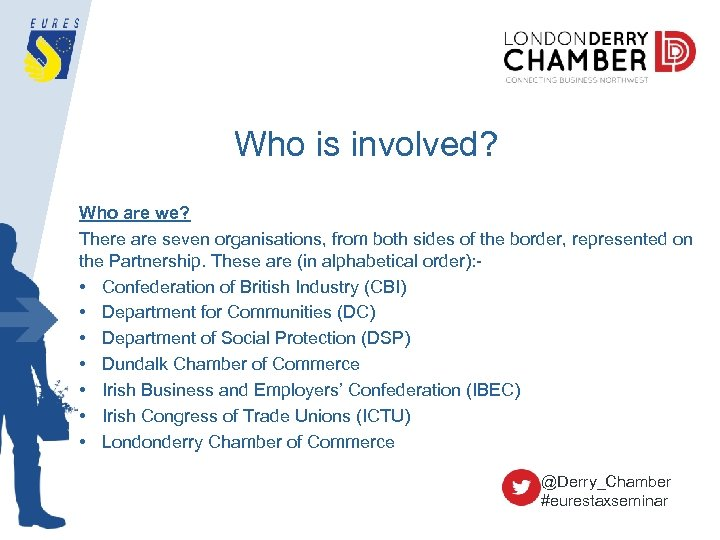Who is involved? Who are we? There are seven organisations, from both sides of