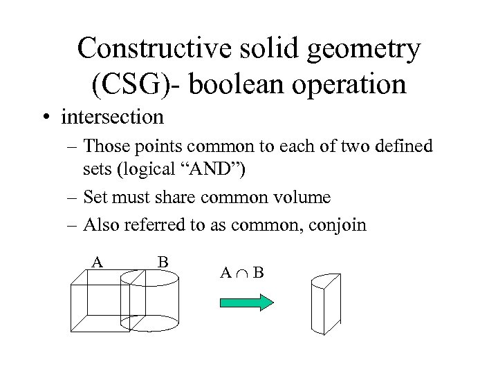 Constructive solid geometry (CSG)- boolean operation • intersection – Those points common to each