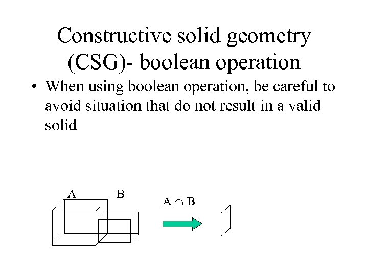 Constructive solid geometry (CSG)- boolean operation • When using boolean operation, be careful to