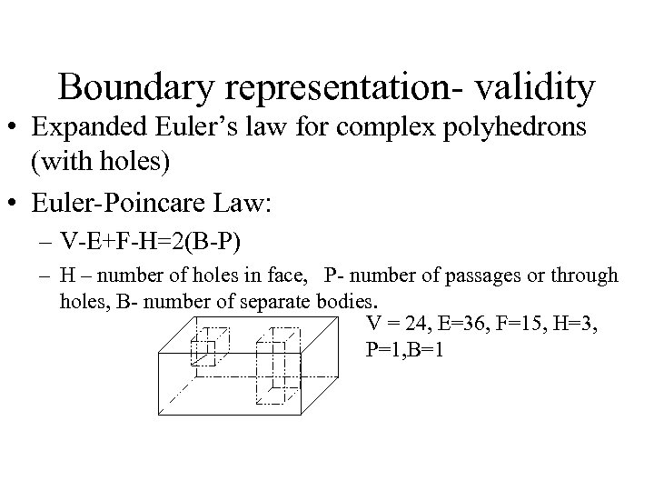 Boundary representation- validity • Expanded Euler's law for complex polyhedrons (with holes) • Euler-Poincare