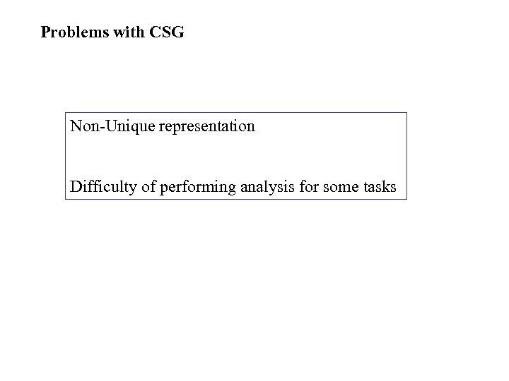 Problems with CSG Non-Unique representation Difficulty of performing analysis for some tasks