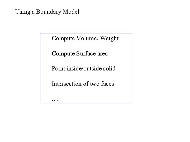 Using a Boundary Model Compute Volume, Weight Compute Surface area Point inside/outside solid Intersection