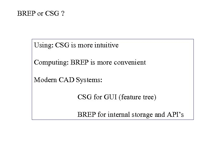 BREP or CSG ? Using: CSG is more intuitive Computing: BREP is more convenient