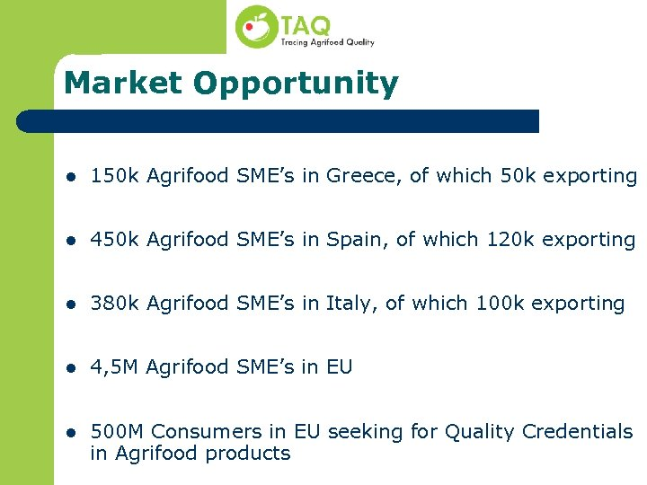 Market Opportunity l 150 k Agrifood SME's in Greece, of which 50 k exporting