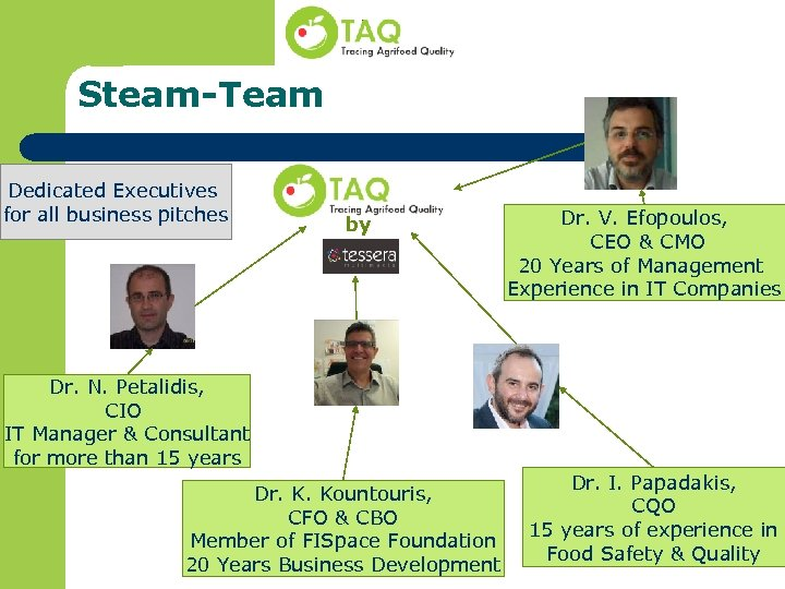 Steam-Team Dedicated Executives for all business pitches by Dr. V. Efopoulos, CEO & CMO