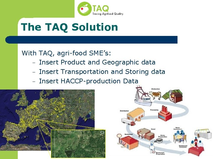 The TAQ Solution With TAQ, agri-food SME's: – Insert Product and Geographic data –
