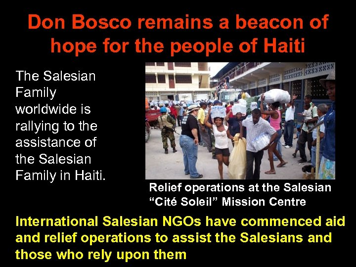 Don Bosco remains a beacon of hope for the people of Haiti The Salesian