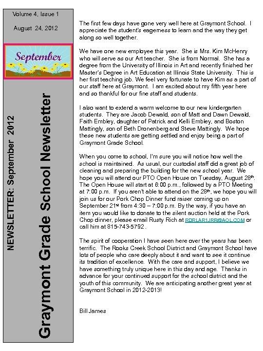 Volume 4, Issue 1 Graymont Grade School Newsletter NEWSLETTER: September 2012 August 24, 2012