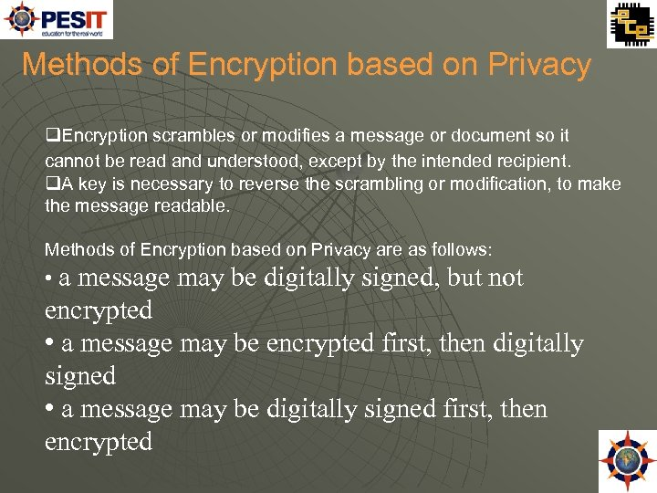 Methods of Encryption based on Privacy Encryption scrambles or modifies a message or document