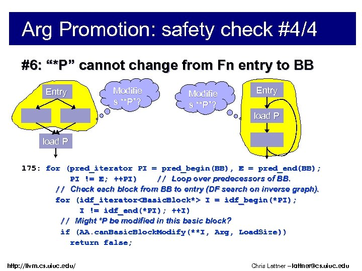 """Arg Promotion: safety check #4/4 #6: """"*P"""" cannot change from Fn entry to BB"""