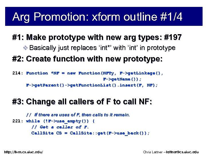 Arg Promotion: xform outline #1/4 #1: Make prototype with new arg types: #197 v