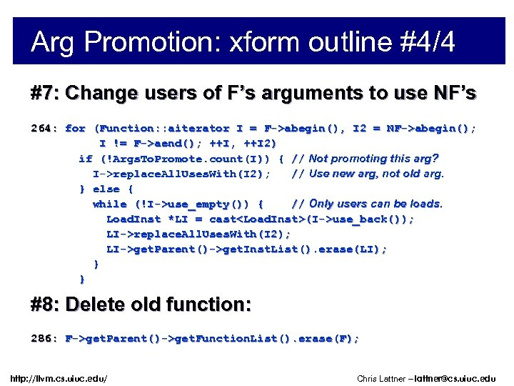 Arg Promotion: xform outline #4/4 #7: Change users of F's arguments to use NF's