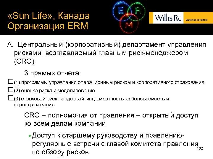 «Sun Life» , Канада Организация ERM A. Центральный (корпоративный) департамент управления рисками, возглавляемый