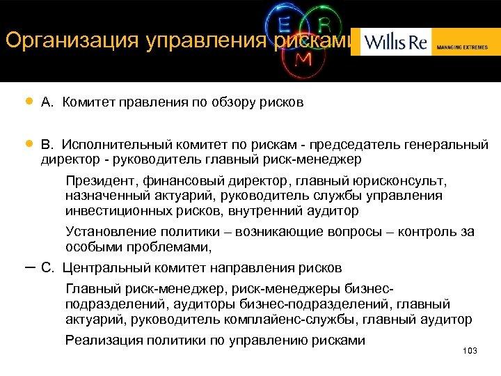 Организация управления рисками A. Комитет правления по обзору рисков B. Исполнительный комитет по рискам