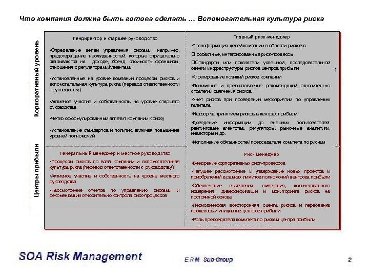 Корпоративный уровень Что компания должна быть готова сделать … Вспомогательная культура риска Главный риск-менеджер