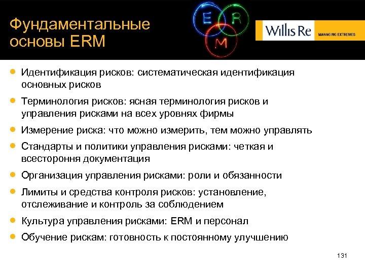 Фундаментальные основы ERM Идентификация рисков: систематическая идентификация основных рисков Терминология рисков: ясная терминология рисков
